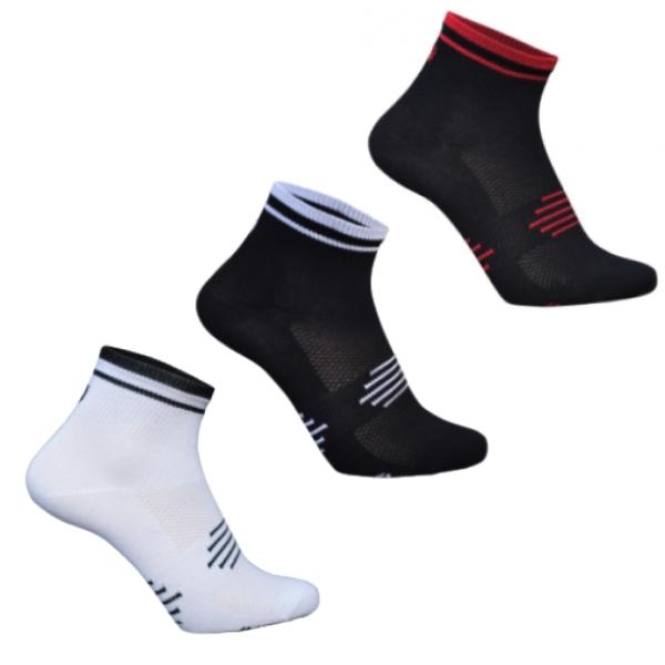3 par Ventoux Coolmax Bike Socks, hvid+sort+rød | Strømper