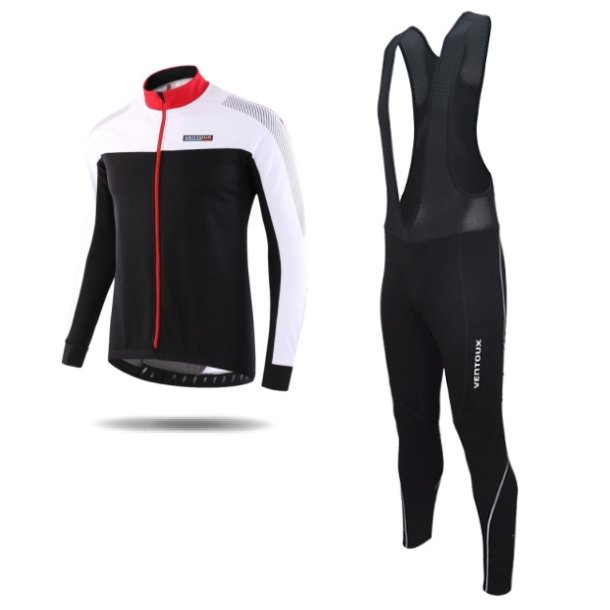 Ventoux Nordic Race jakke og Pro Bib Tights, sort/rød/hvid
