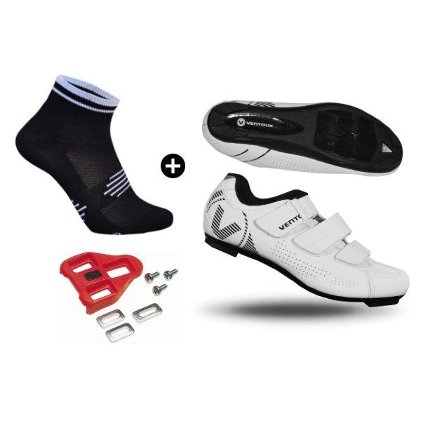 Ventoux Comp Road cykelsko hvid + Coolmax Socks + Look klamper