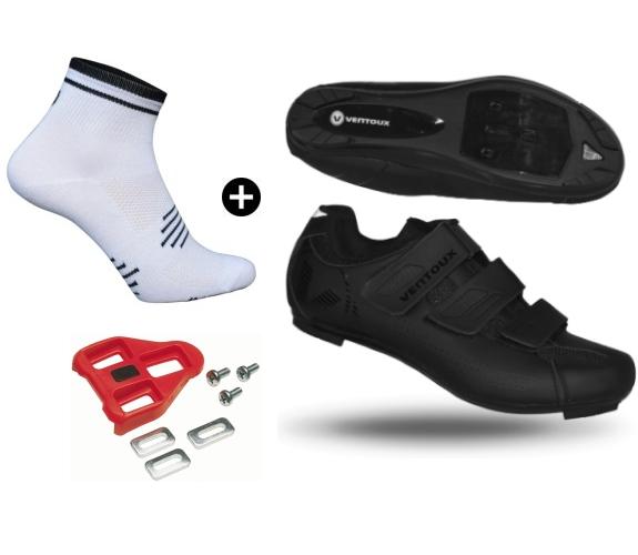 Ventoux Comp Road cykelsko sort + Coolmax Socks + Look klamper | Shoes and overlays