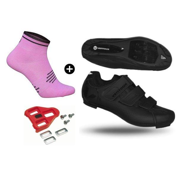 Pakketilbud: Comp Road cykelsko (sort) + Coolmax Pink Socks + Look klamper